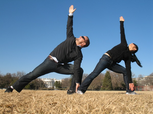 Triangle Pose on White House Lawn